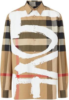 Burberry Love Print Check Shirt