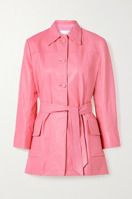 The Mighty Company The Somerset Belted Leather Jacket - Pink
