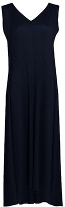 Pleats Please Issey Miyake Sliced Drawstring Pleated Maxi Dress