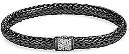 John Hardy Women's Classic Chain Black Rhodium-Plated Sterling Silver & White Diamond Small Bracelet