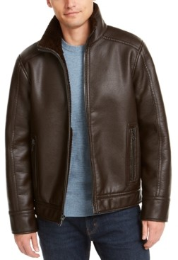 Calvin Klein Men's Pebble Faux Leather Jacket With Faux Shearling Lining, Created for Macy's