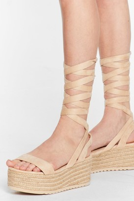 Nasty Gal Womens One Step Ahead Lace-Up Platform Sandals - Natural