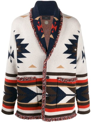Alanui long sleeve Aztec pattern cardigan