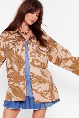 Nasty Gal Womens In Line Oversized Camo Jacket - Sand