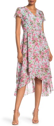 Betsey Johnson Floral Wrap Midi Dress