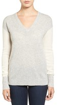 Halogen Cashmere V-Neck Sweater (Regular & Petite)