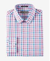 Express modern fit multicolor plaid dress shirt
