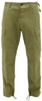 Aries Drawstring-cuff Stretch-cotton Cargo Trousers - Mens - Dark Green