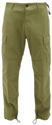 Aries Drawstring-cuff Stretch-cotton Cargo Trousers - Dark Green