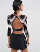 Y.A.S Lounge Stripe Sweat Crop Top Co-Ord