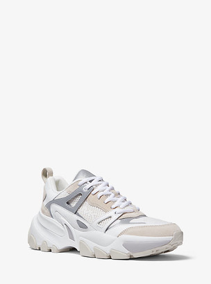 Michael Kors Nick Leather Suede and Mesh Trainer - Optic White
