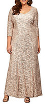 Alex Evenings Plus Sequined Lace 3/4 Sleeve Gown