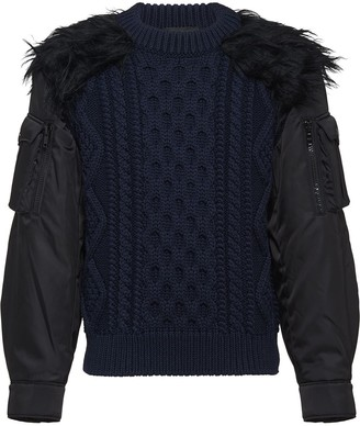 Prada Cablé wool and nylon inserts jumper