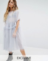 Reclaimed Vintage Oversized Tulle Dress With Ruffles