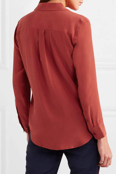 Equipment Slim Signature Washed-silk Shirt - Crimson