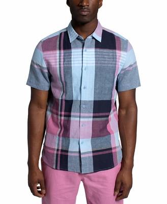 Sean John Men's Short Sleeve Button Up Large Scale Plaid Shirt