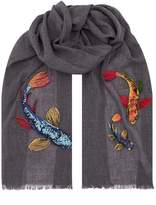 Paul Smith Embroidered Koi Carp Scarf, Grey, One Size