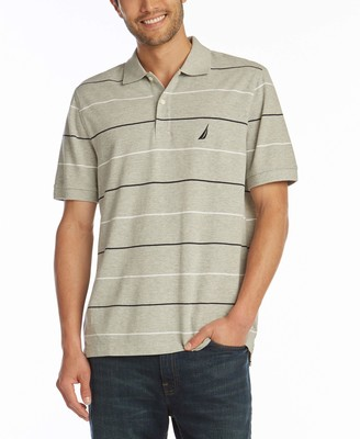 Nautica Men's Classic Fit Short Sleeve 100% Cotton Pique Stripe Polo Shirt