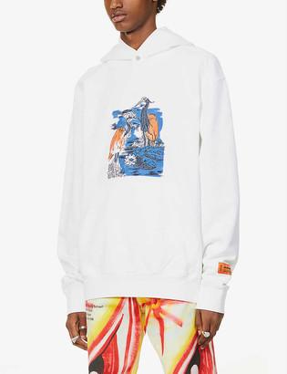 Heron Preston Heron-print cotton-jersey hoody