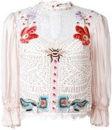 Temperley London Aura lace sleeved blouse - women - Silk/Nylon/Spandex/Elastane - 8
