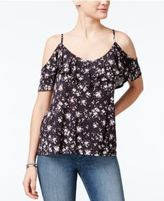 Ultra Flirt Juniors' Printed Cold-Shoulder Ruffle Top