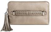 Sam & Libby Women's Faux Leather Tassel Clutch Handbag - Pewter