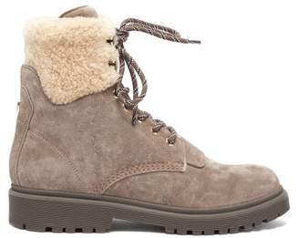 Moncler Patty Shearling-lined Suede Hiking Boots - Womens - Grey