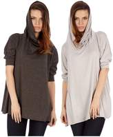 Dinamit Jeans Dinamit's Women 2 Pack Cowl Neck Poncho Red Gray S/L Sweater (2 Pack)