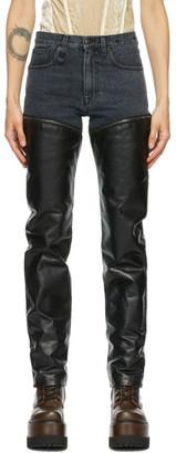 R 13 Black Leather Zip Off Axl Slim Pants