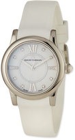 David Yurman 34mm Ceramic Diamond Watch w/Rubber Strap, White