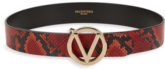 Mario Valentino Valentino By Giusy Logo Python-Print Leather Belt