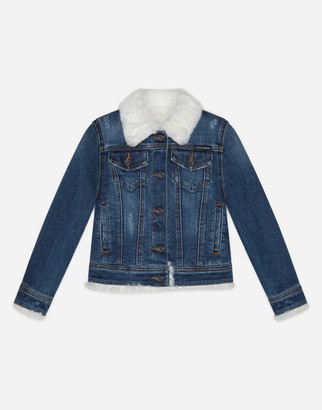 Dolce & Gabbana Denim Jacket With Faux Fur Interior