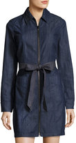 7 For All Mankind Long-Sleeve Zip-Front Denim Dress, Dark Blue