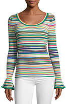 Milly Micro-Striped Flare-Cuff Top
