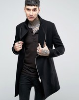 Religion Overcoat With Asymmetric Zip