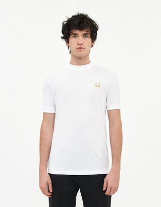 Fred Perry Men's Mock Neck Pique Shirt in White, Size Small