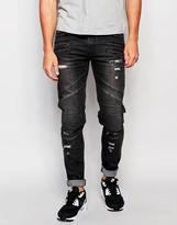 Black Kaviar Skinny Biker Jeans