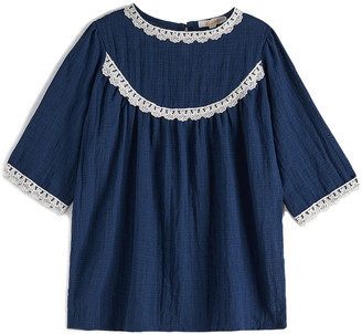 Cup Of Sweet Cup of Sweet Girls' Blouses Blue - Blue Lace-Accent Scoop Neck Top - Girls