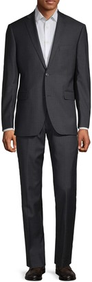 Saks Fifth Avenue Striped Trim-Fit Wool Suit