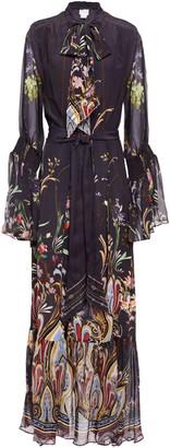 Camilla Wild Flower Pussy-bow Printed Silk Crepe De Chine Maxi Dress