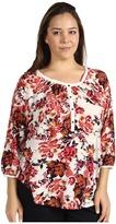 Lucky Brand Plus Size Painterly Rose Kara Top Women's Clothing