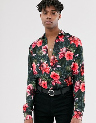 Twisted Tailor regular fit shirt in tropical floral print-Black