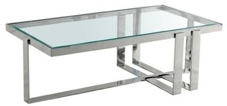 Benjara Rectangular Glass Top Coffee Table With Metal Frame Base, Silver And Clear