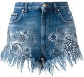 Versus rose print denim shorts - women - Cotton/Polyester - 26