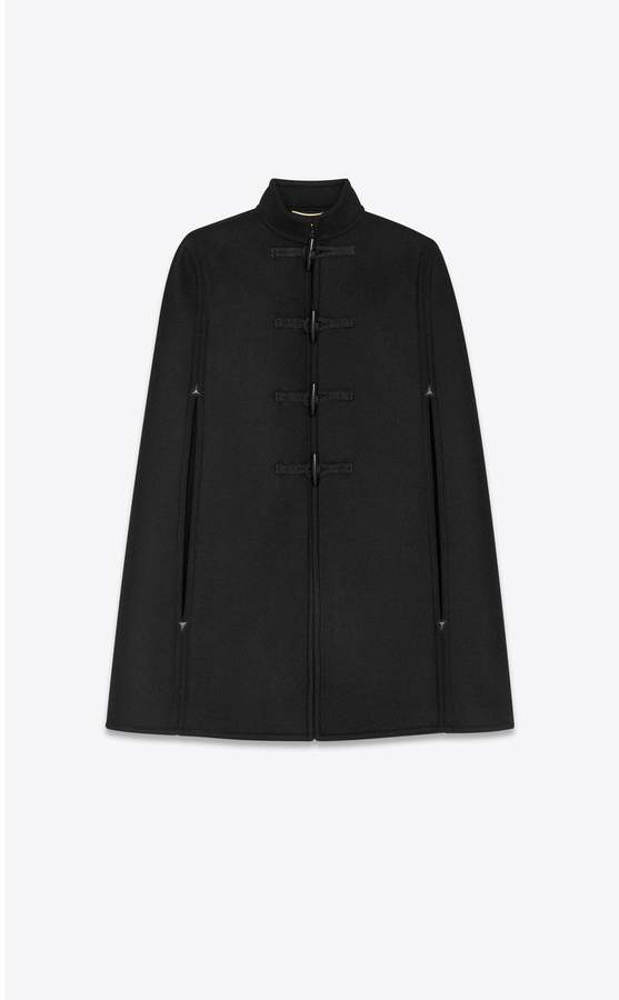 Saint Laurent Duffle Coat Cape In Wool