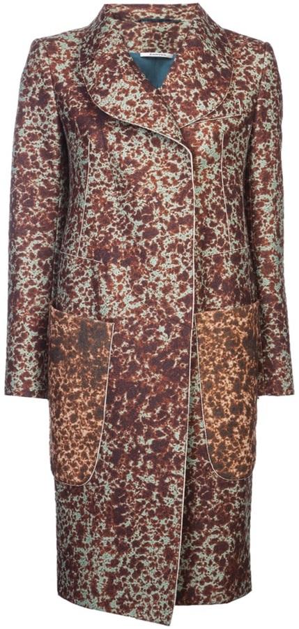 Carven long print coat