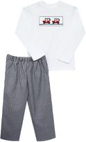 Black Gingham Pants & White Car Top - Infant & Boys