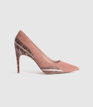 Reiss Mia - Snake Detailed Suede Court Shoes in Blush Pink