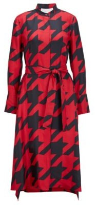 HUGO BOSS Shirt Dress In Silk With Houndstooth Motif - Patterned