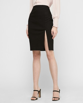 Express High Waisted Side Slit Knit Pencil Skirt